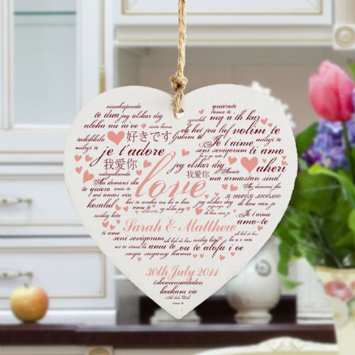 Personalised I Love You Wooden Heart Decoration